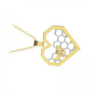 Fashion Hollow Heart Shaped Honeycomb Necklace Creative Bee Pendant -
