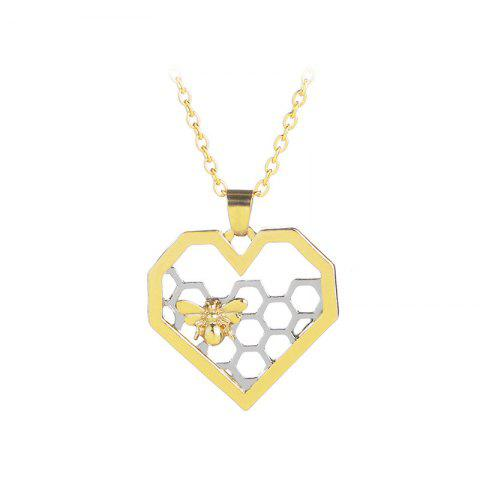 Store Fashion Hollow Heart Shaped Honeycomb Necklace Creative Bee Pendant
