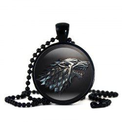 Time Gem Black Bead Chain Wolf Pendant Item -