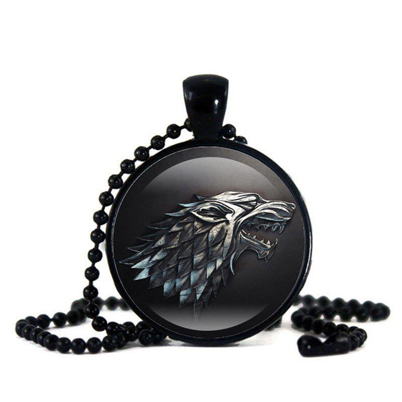 Chic Time Gem Black Bead Chain Wolf Pendant Item