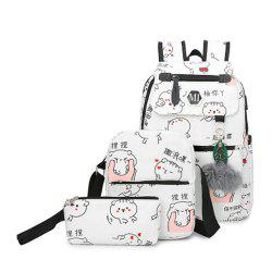 Girl's Schoolbag 3 Pcs Cat Pattern Canvas Cute Kids Bag -