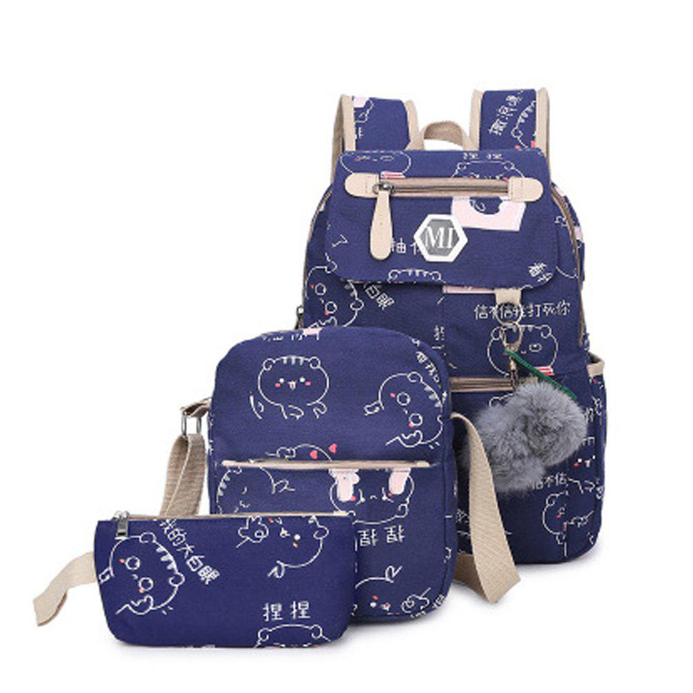 Trendy Girl's Schoolbag 3 Pcs Cat Pattern Canvas Cute Kids Bag