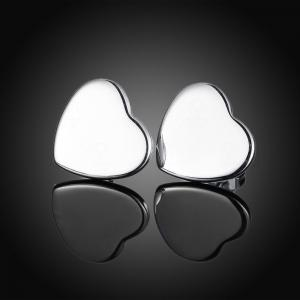 Graceful Silver Plated Heart Stud Earrings Charm Jewelry -