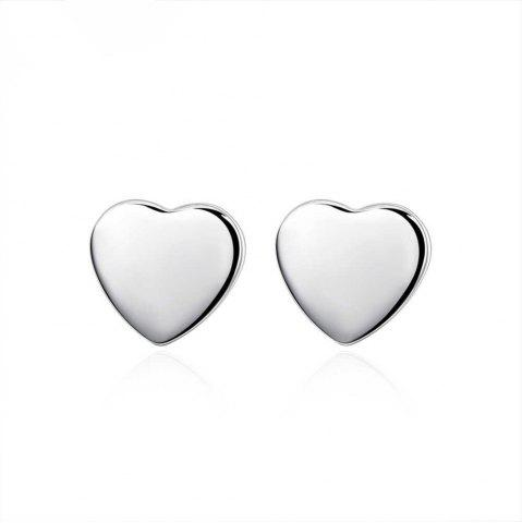 Outfit Graceful Silver Plated Heart Stud Earrings Charm Jewelry