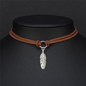 Leather Feather Leaf Choker Necklace Women Jewelry Accessories -