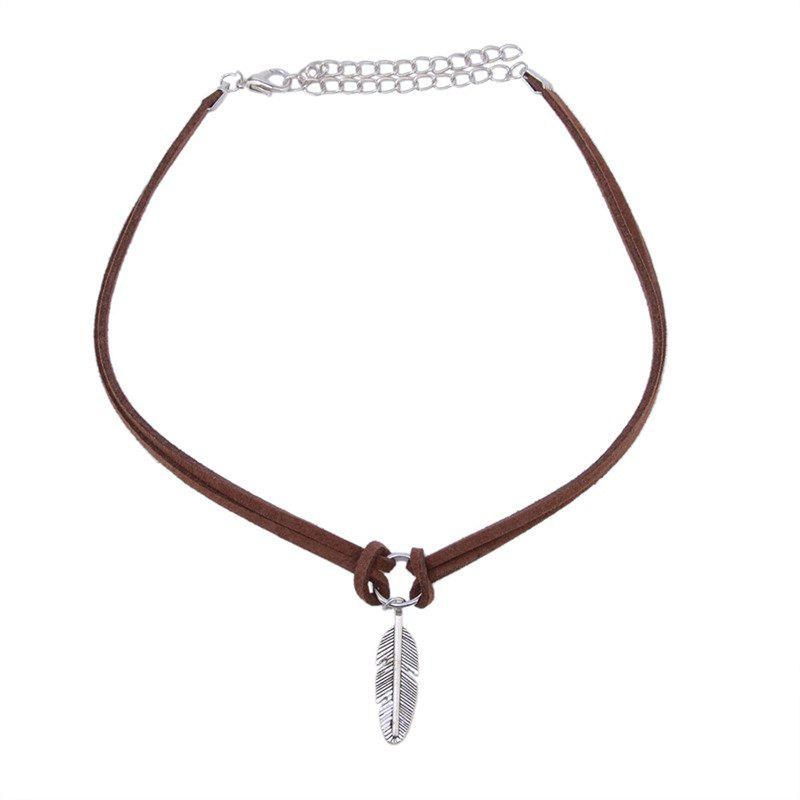 Shop Leather Feather Leaf Choker Necklace Women Jewelry Accessories