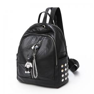 Double Shoulder Bag Female Bag Stitching Large Capacity Rivet Bag -