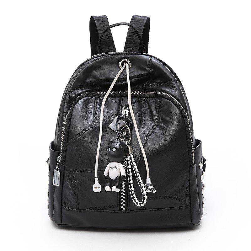 Hot Double Shoulder Bag Female Bag Stitching Large Capacity Rivet Bag