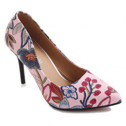 Elegant and High Heeled Shoes with Embroidered Flowers -