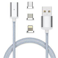 1M 3 in 1 8 Pin Type-C Micro USB Magnetic Suction Cable -