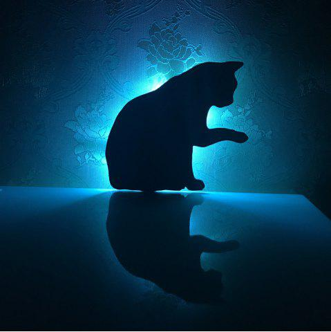 Cheap Colorful Remote Lick The Hair Cat Shadow Projection Lamp LED  Night Light