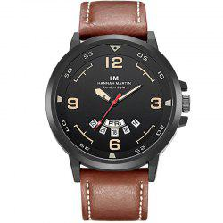 Men Sports Army Leather Band with Calendar Fashion Watch -