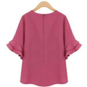 Plus Size Loose Short Sleeved Chiffon Shirt -