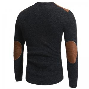 2018 Autumn and Winter New Suede Patch Cloth Design Men Round Neck Casual Slim Knit Sweater -