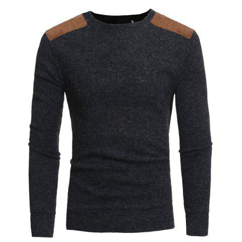 Sale 2018 Autumn and Winter New Suede Patch Cloth Design Men Round Neck Casual Slim Knit Sweater