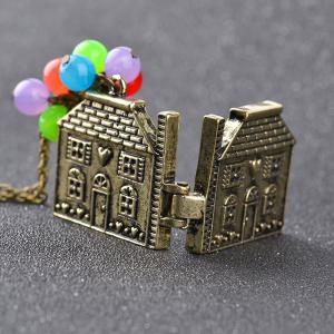 Kid's Necklace Vintage Metal House Pendant Colorful Beads Kids Accessory -
