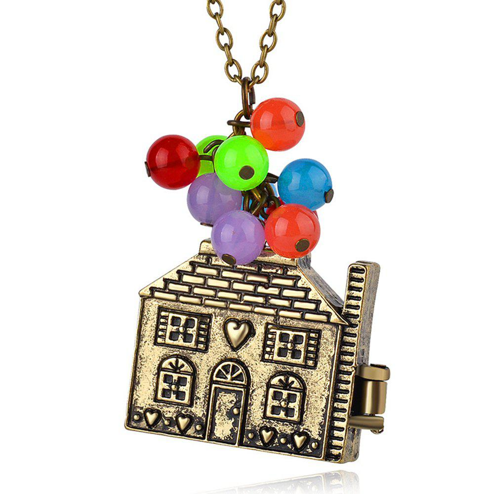 Buy Kid's Necklace Vintage Metal House Pendant Colorful Beads Kids Accessory