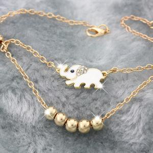 Women's Fashion Gold Plated Animal Lucky Elephant Charm Beads Chains Anklet Foot Chain -