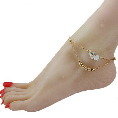 Fashion Women's Fashion Gold Plated Animal Lucky Elephant Charm Beads Chains Anklet Foot Chain
