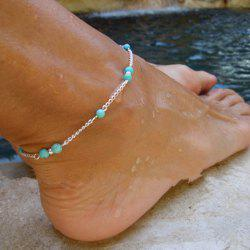 Imitation Turquoise Beads Silver Anklet Foot Chain Ankle Bracelet Gift -