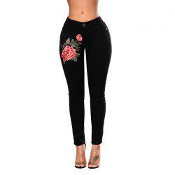 Women's Fashion Skinny Black Elastic Jeans Pants -