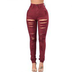 Women's Skinny Holes Jeans Pants -