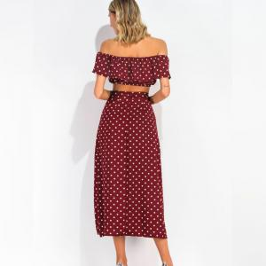 Women Retro Polka Dot Tube Top Skirt Two-Piece Suit -