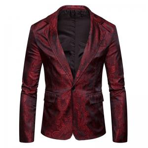 Le nouveau printemps mode hommes Casual Paisley Jacket British Royal Style Suit -