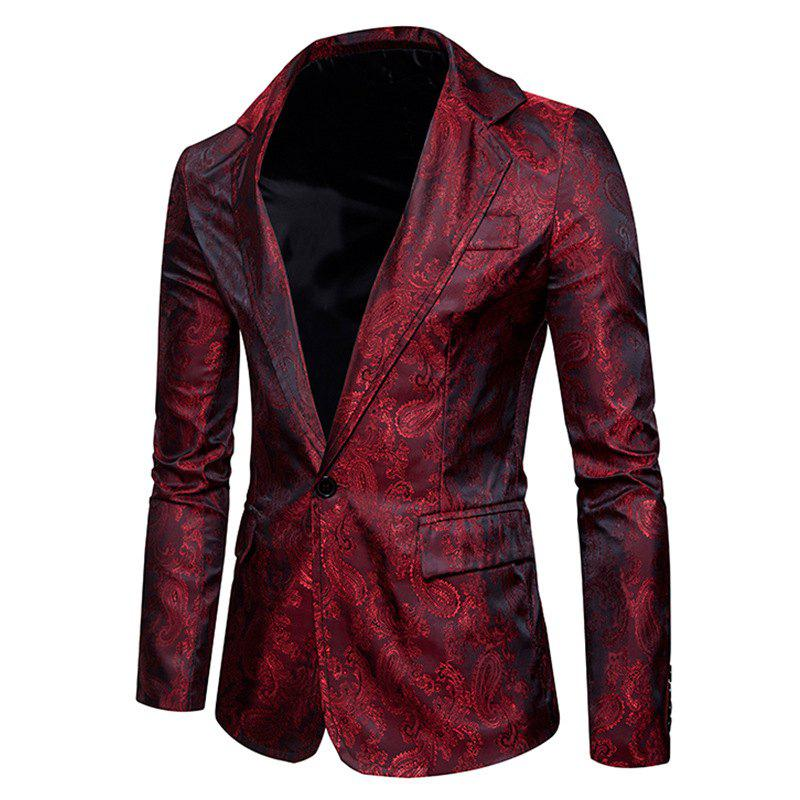 New The New Spring Fashion Men Casual Paisley Jacket British Royal Style Suit