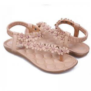 Women's  Sweet Flower Ornament Bohemian Style Thong Flat Sandals -