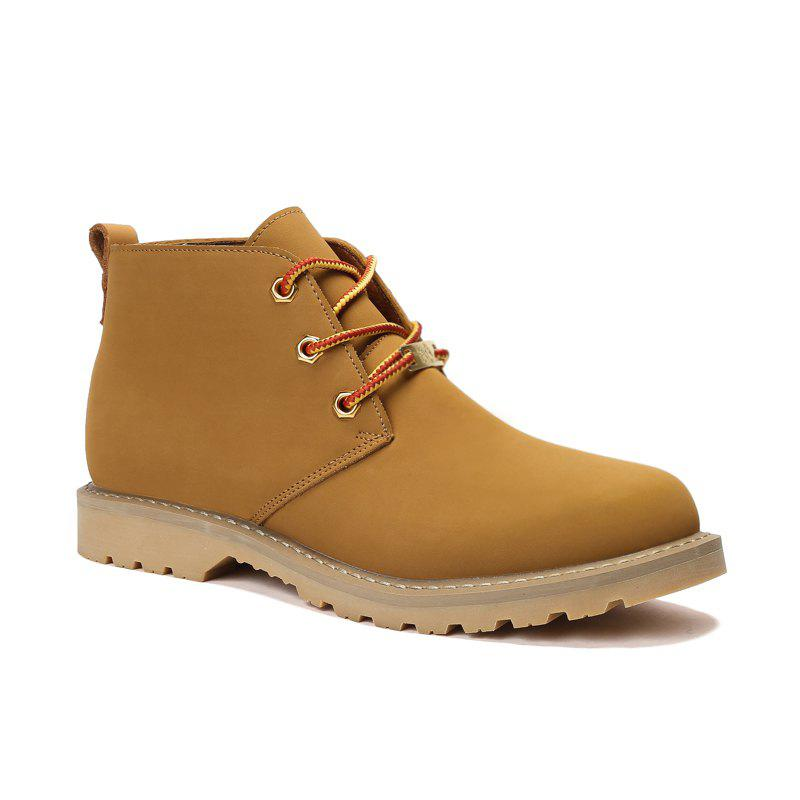 Buy Boots Solid Color Durable Comfy Lacing Shoes