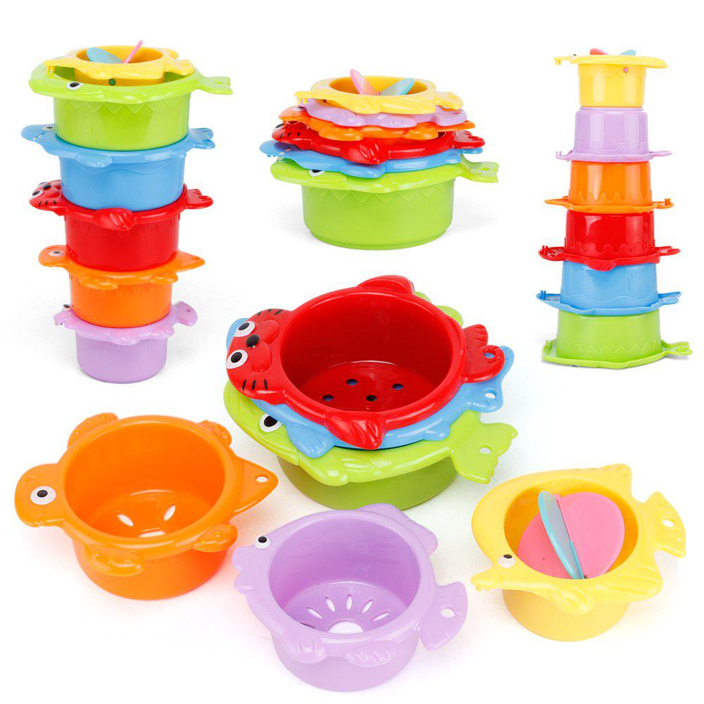 Colour Baby Stacking Folding Cup Enlightenment Parent-child Bathroom ...