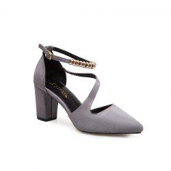 2018 New Style Fashion Sharp Toe Solid Color Thick Heel Rubber Sole High-Heel Shoes -
