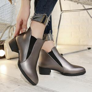 2018 New Style Solid Color Sharp Toe Short Tube Rubber Sole Chelsea Boots -