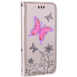for Samsung Samsung Galaxy A3 2017 Butterfly Pattern PU Leather Wallet Flip Protective Case Cover with Card Slots -