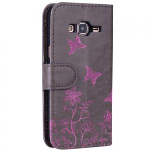 for Samsung Samsung Galaxy J3 2016 Butterfly Pattern PU Leather Wallet Flip Protective Case Cover with Card Slots -