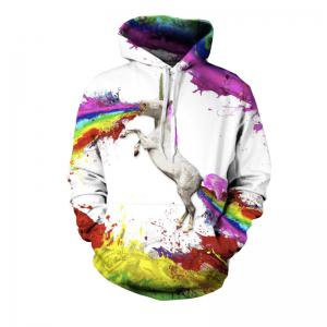 Sweat à capuche Spew Fashion Unicorn Happy pour les hommes -