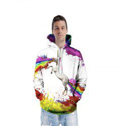 Fashion Happy Unicorn Spew Hoodie for Men -
