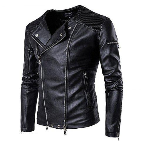 Store Large New Fashion Lapel Motorcycle Zipper Short Tide Male Jacket