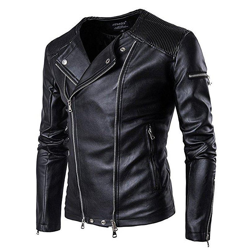 Online Large New Fashion Lapel Motorcycle Zipper Short Tide Male Jacket
