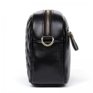 HMILY Women Messenger Bag Genuine Leather Plaid Ladies Crossbody Bag Chain Trendy Cowskin Small Shopping Daily Shoulder -