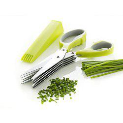 Herb Scissors Multipurpose Kitchen Mincing Shear 5 Blades and Cover Stainless Steel -