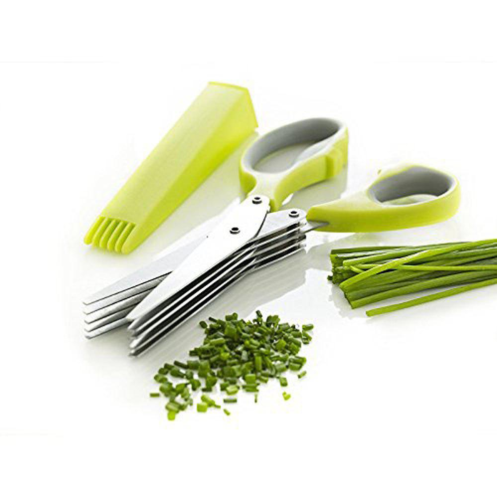 Sale Herb Scissors Multipurpose Kitchen Mincing Shear 5 Blades and Cover Stainless Steel