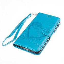 Imprint Heart Flower Wallet Leather Stand Cell Phone Cover with Magnet for iPhone 8 Plus / 7 Plus -
