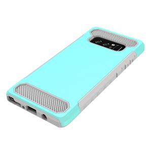 for Samsung Galaxy Note 8 Shockproof  Hard PC Flexible TPU Laminated Carbon Fiber Chrome Anti-scratch Protective  Case -