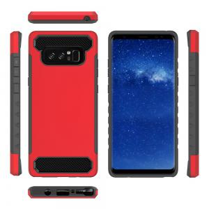 pour Samsung Galaxy Note 8 antichoc dur PC Flexible TPU laminé en fiber de carbone Chrome anti-rayures étui de protection -