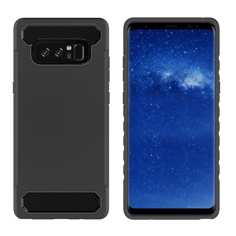 New for Samsung Galaxy Note 8 Shockproof  Hard PC Flexible TPU Laminated Carbon Fiber Chrome Anti-scratch Protective  Case