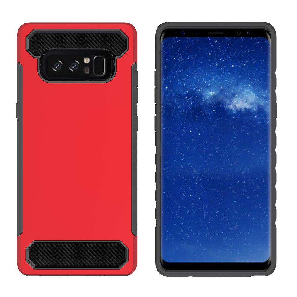 Outfits for Samsung Galaxy Note 8 Shockproof  Hard PC Flexible TPU Laminated Carbon Fiber Chrome Anti-scratch Protective  Case