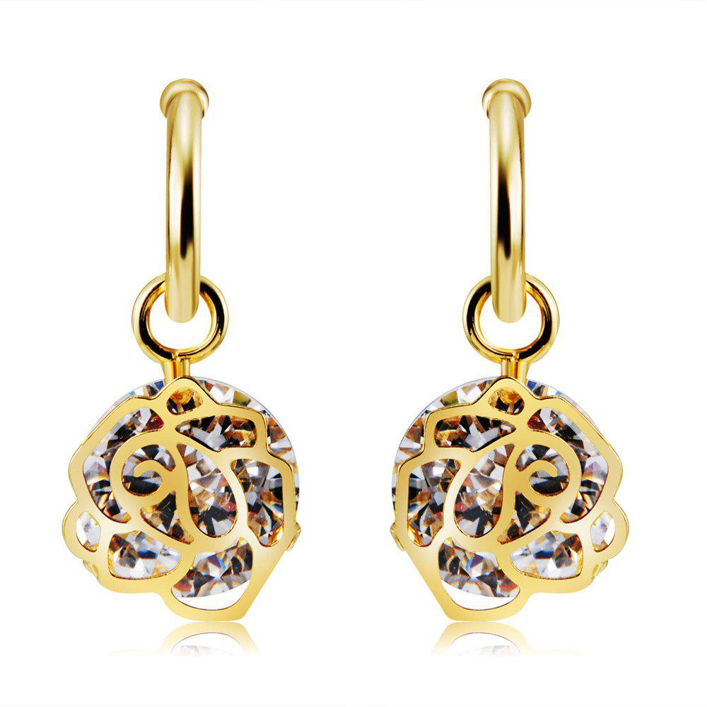 Fancy Golden Rose Style Crystal Earrings
