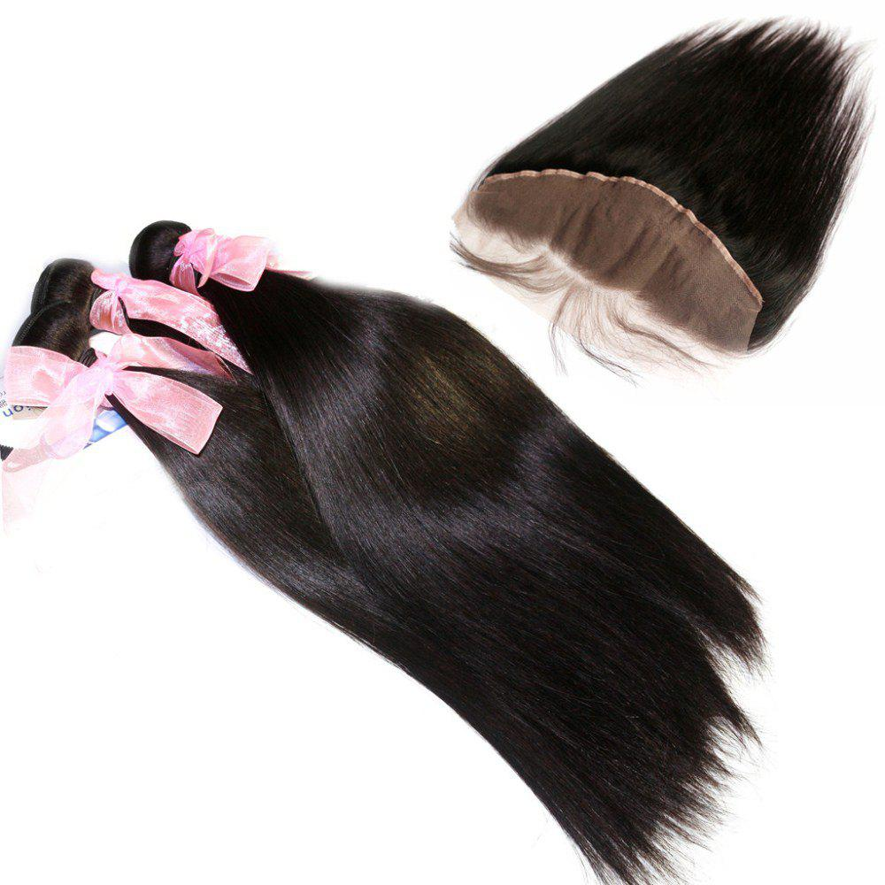 Silky Straight 100 Percent Brazilian Virgin Hair Weave 3pcs with 1pc Lace Frontal